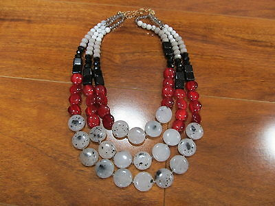 NEW LOFT RED MULTISTRAND NECKLACE Red Black and White Speckled Beads $44.50