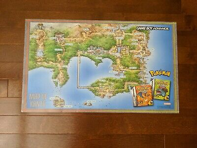 Pokemon Leaf Green Map (RARE Official Nintendo Pokemon Promotional Map of Kanto Fire Red Leaf)