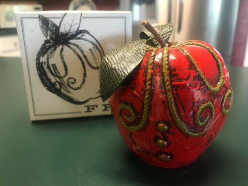 Fitz & Floyd Vintage Hand Painted Red Apple Paperweight With Original Box