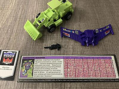 SCRAPPER ~ Ex/Mt 100 % Complete Transformers G1 DEVASTATOR Vintage 1985 WithSpec