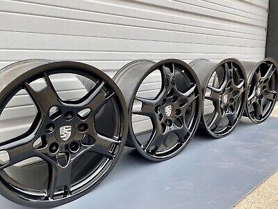 "19"" Porsche Gloss Black 911 997 OEM Factory Set Rims Wheels Carrera Lobster Claw"