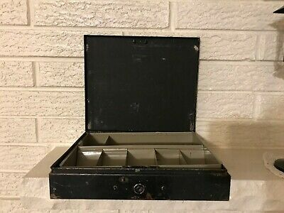 Antique Steel Compartment Safe Petty Cash Box