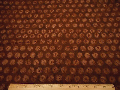 Batik Fabric By The Half-Yard Lt Brown Circles Letters on Dark Brown Cotton #4