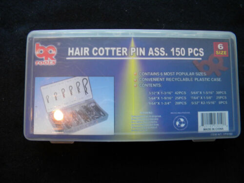 BR Tools Hair Cotter Pin Assorted Complete Kit HPA-150 / 6 Sizes / Qty: 128 Pins