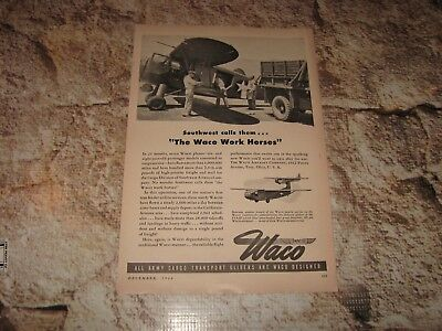 Antique Aviation WWII Advertisement Page 1944 US Army Waco Glider for sale  Wichita