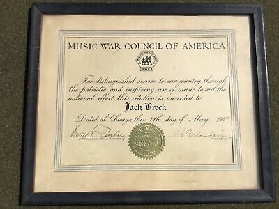 1945 Music War Council of America WW2 Certificate Xylophone Marimba Photo GROUP