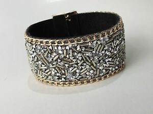 Wide-Leather-Wrap-Wristband-Cuff-Crystal-Rhinestone-Magnet-Clasp-Bracelet
