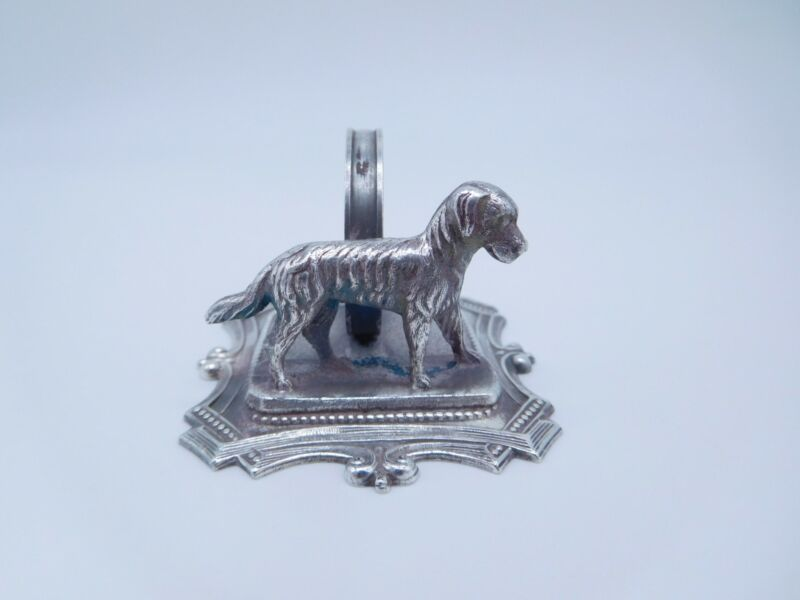 LOVELY VICTORIAN SILVER PLATED FIGURAL CANINE DOG PUPPY NAPKIN RING b