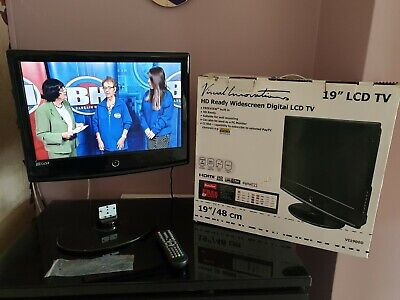 "19"" HD READY LCD TV / PC MONITOR WITH STAND AND BOX FREEVIEW"