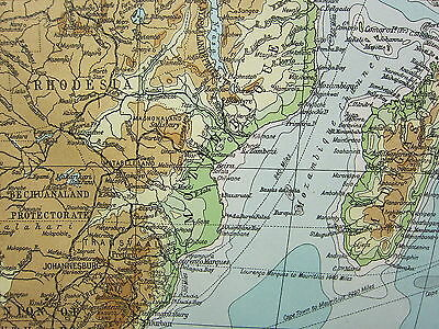 1919 LARGE MAP ~ AFRICA LAND HEIGHTS PHYSICAL RHODESIA MEAN ANNUAL RAINFALL