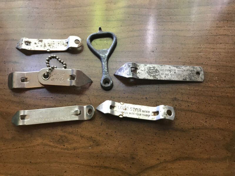 6 DIFFERENT RARE VINTAGE BEER BOTTLE OPENERS Lone Star, Falstaff, Lucky Lager