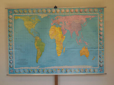 Wall Map World Earth Flächentreu 227x156 ~ 1970 IN Equal Area Projection