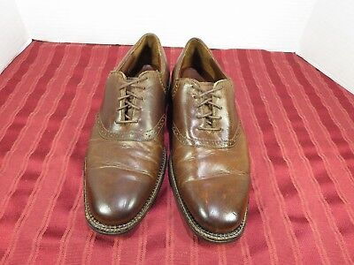 Neil M Boston Worn Saddle Oxford Brown Leather Casual Dress Shoes Men Size 8.5D Brown Worn Saddle Leather