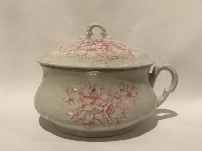 Antique Pink Transfer Chamber Pot with Lid by The Colonial Co.