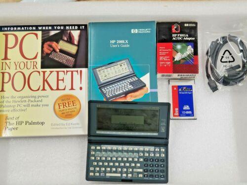 Vintage Rare HP 200LX Palmtop Handheld Pocket PC 2MB RAM DOS PDA w/ Accessories