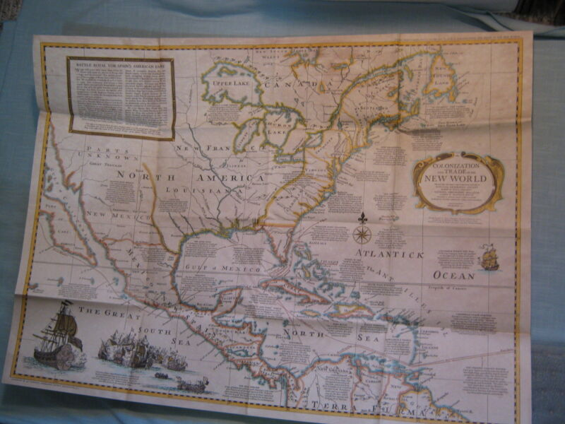 COLONIZATION AND TRADE IN THE NEW WORLD MAP +SHIPWRECK National Geographic 1977