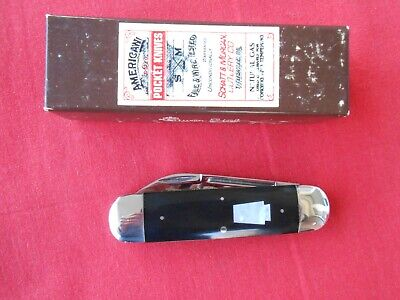 SHATT & MORGAN 14226 SMALL SUNFISH BLACK HANDLES PEARL SHIELD KNIFE