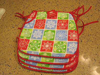 Christmas holiday chair pads snowflake red green blue new with – Christmas Chair Pads