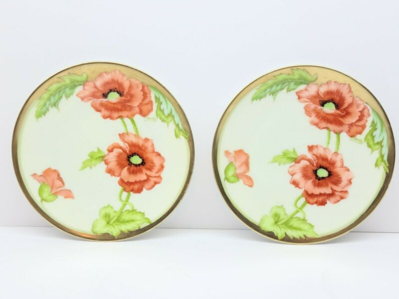 ANTIQUE PAIR BAVARIAN CHINA HAND PAINTED PLATES POPPIES SIGNED CROUCHY GOLD GILT