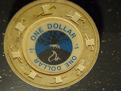 Vintage One Dollar Tree Animal Graphic Gaming Poker Chip   1 Casino Chip