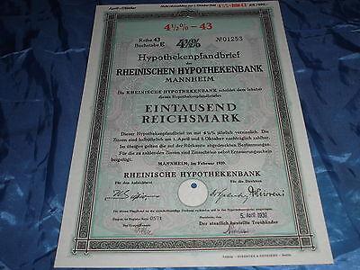 299 : histor. Wertpapier , Rheinische Hypothekenbank Mannheim Februar 1939 ,1000