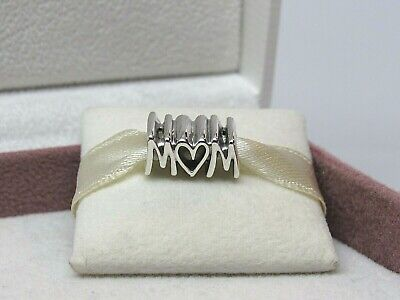 New Pandora Mom Script Sterling Silver Charm 797778 W/HINGE Box Mother's Day