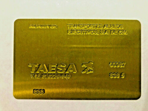TAESA Airline Ticket Validation Plate Vintage