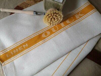 Huge Unused Vintage Irish linen tea towel ~ Green Quick dryer Kitchen towel