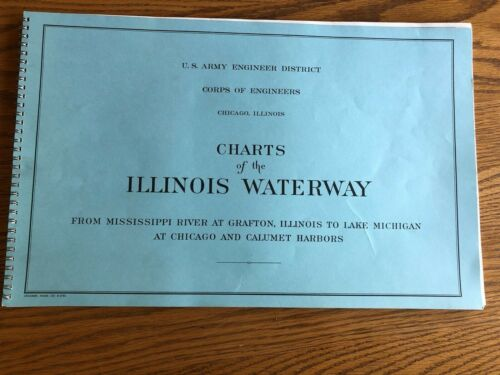 Vintage 1974 Charts of the Illinois Waterway by US Army Corps of Engineers EUC