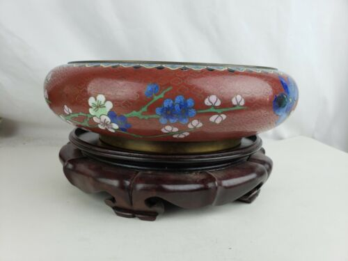 Superb antique large cloisonne bowl with stand, antique chinese