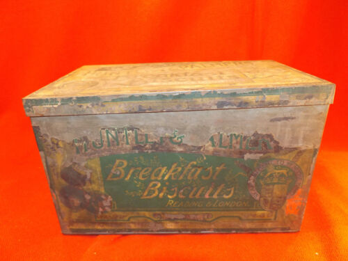 Early HUNTLEY & PALMERS BREAKFAST BISCUIT TIN Paper Label Reading & London