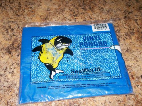 Sea World Shamu Whale Hooded Vinyl Rain Poncho Adult One Size 1990 NIP