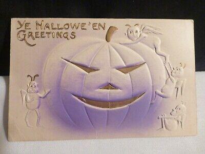 RARE Vintage Halloween Postcard- A Happy Pumpkin-JOL-W/Little Sprites-USA