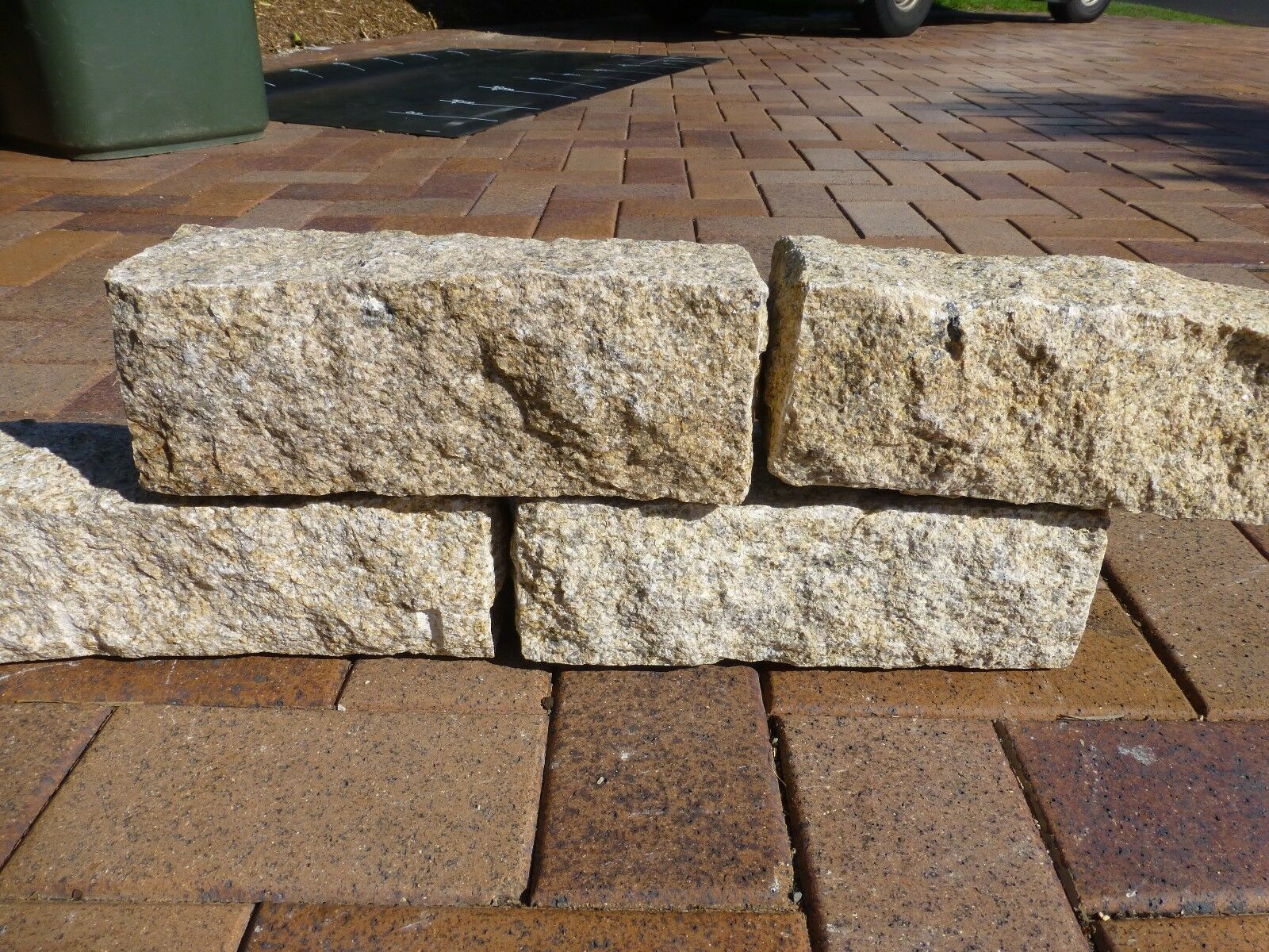 Granite Stone Edging : Stone block garden edging granite golden yellow