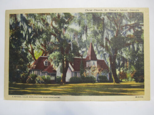 CHRIST CHURCH FREDERICA POSTCARD BRUNSWICK ST SIMONS ISLAND GEORGIA GA 1940s