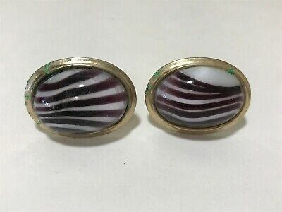 PURPLE STRIPED WHITE CABOCHON MENS GOLD TONE OVAL CUFFLINKS