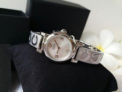 NWT! Coach 14501687 Ladies Madison Silver SS Bracelet Bangle Watch C Logo $250