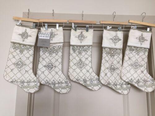 ONE Kim Seybert IVORY & Silver Christmas Stocking Beaded New w/tags
