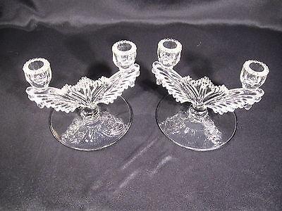 Vintage US Glass Double Candelabra-Candlesticks Pair