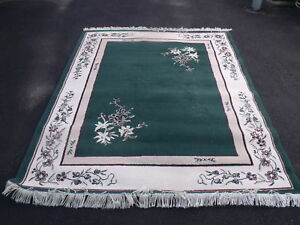 GREEN FLORAL AREA RUG
