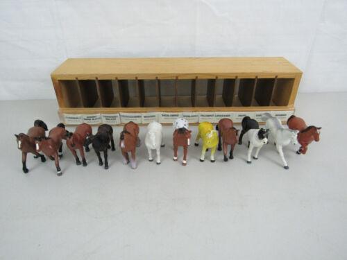 Lot of 12 Vintage 1988 Funrise Horses & Wooden Display