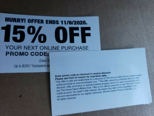 Home Depot 15 OFF On-line Cupon Save Up To 200 MAX. Exp. 11/9/20 - $19.99