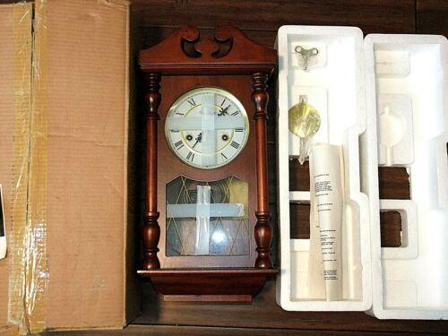 NIB Wentworth 31-Day Wind-Up Wooden Wall Clock w/Pendulum & Key, Chiming, New