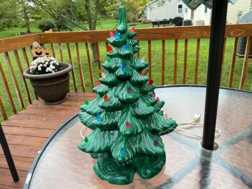 "Vintage Atlantic Mold 17"" Ceramic Christmas Tree w Base and Colorful Lights"