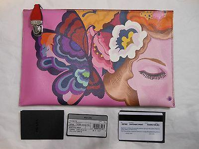NWT Prada $990 Saffiano Leather Print Butterfly Clutch Bag, Multi