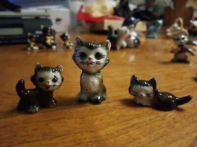 Vintage  Bradley Kitty figurine 3 Black and White kittens from Japan