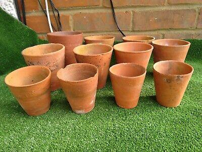 11 vintage hand thrown terracotta flower pots incl 3 Sankeys, 4.5