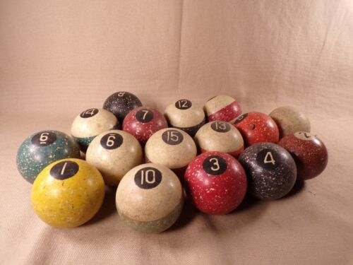 """Vintage Antique Clay 1 7/8"""" 2"""" Brunswick? Speckled Billiard Pool Ball Lot of 16"""