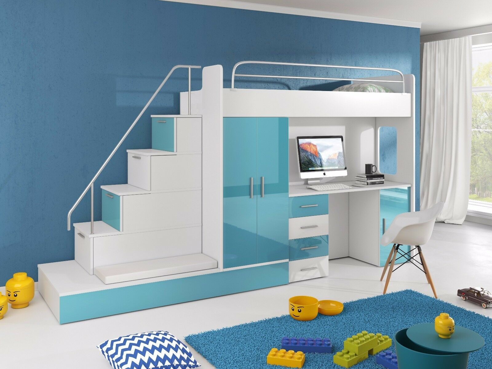 Hochbett TOMI mit Schreibtisch, Schrank, Treppe und Gästebett in ...