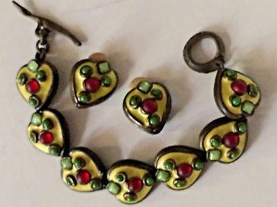 France Lime Green Enamel Earrings Bracelet Set French Taratata